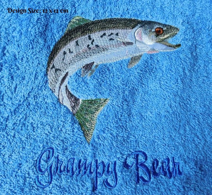 Rainbow Trout Design (449) - Embroidered Personalised Blanket/Towel Gift #Hollydoodlescouk