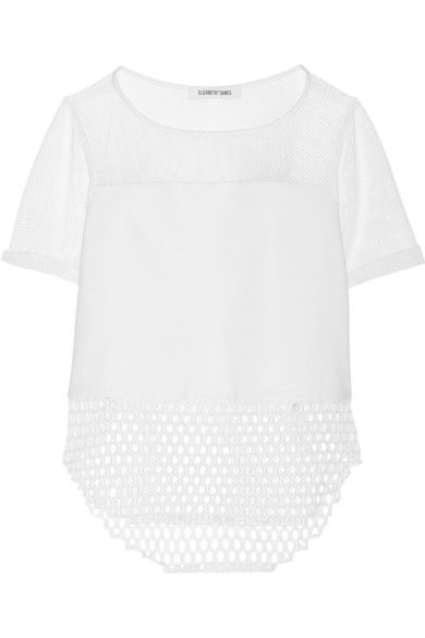 ELIZABETH AND JAMES Rider paneled mesh and jersey top