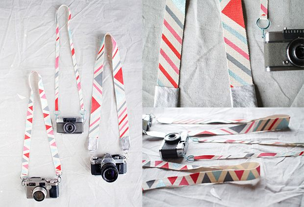 Design Lovefest has a tutorial on how you can make a custom-designed camera strap using 1 1/2-inch natural cotton webbing and acrylic craft paint.     Make It Camera Strap (via Craftzine)...