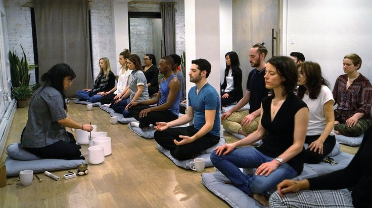 No Texts, Please, We're Meditating-Increasing numbers of harried New Yorkers are gathering to close their eyes and just breathe.