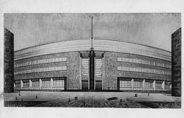 Giuseppe Vaccaro e G. Franzi Palazzo delle Poste di Napoli, 1928-1936, Disegno di concorso di 3° grado, facciata 1928, foto Vasari-Roma, 17,5x26,1 cm.