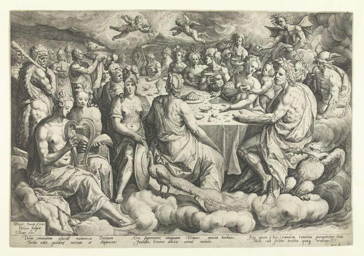 Jacob de Gheyn (II) | Godenbanket tijdens de bruiloft van Peleus en Thetis, Jacob de Gheyn (II), Heyman Jacobi, Jacques Razet, 1589 | Temidden van de wolken gebruiken godenfiguren aan een lange tafel de maaltijd. Aan het hoofd, op de voorgrond, zitten Jupiter en Juno, herkenbaar aan respectievelijk de adelaar met de bliksemschichten en de pauw. Rechts op de achtergrond biedt Eris, de godin van de twist, de gouden appel aan de gasten aan. Onder de voorstelling zes regels Latijnse tekst.