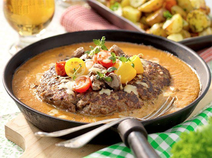 Köttfärsbiff med svampsås