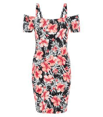 New Look Black Tropical Print Cold Shoulder Bodycon Dress #printdress #cold #women #covetme