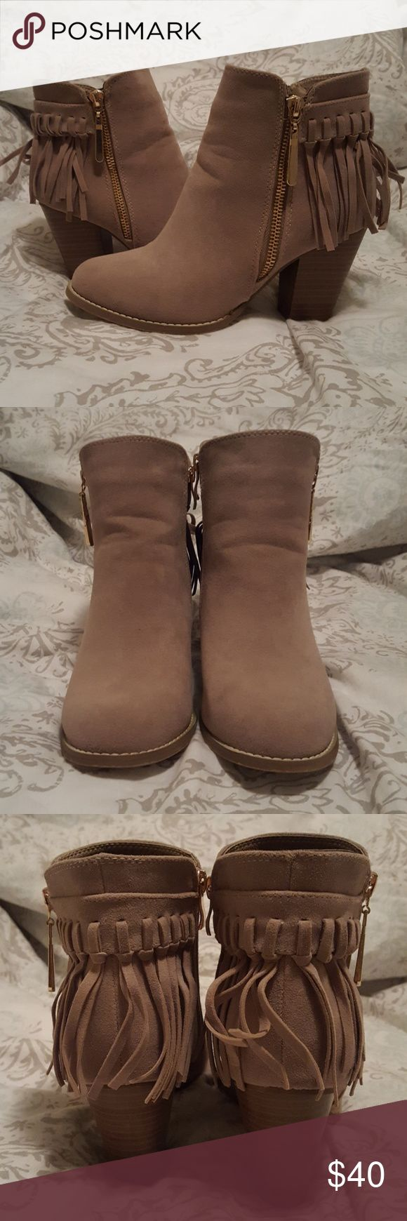 Taupe colored size 7.5 fringe ankle boots