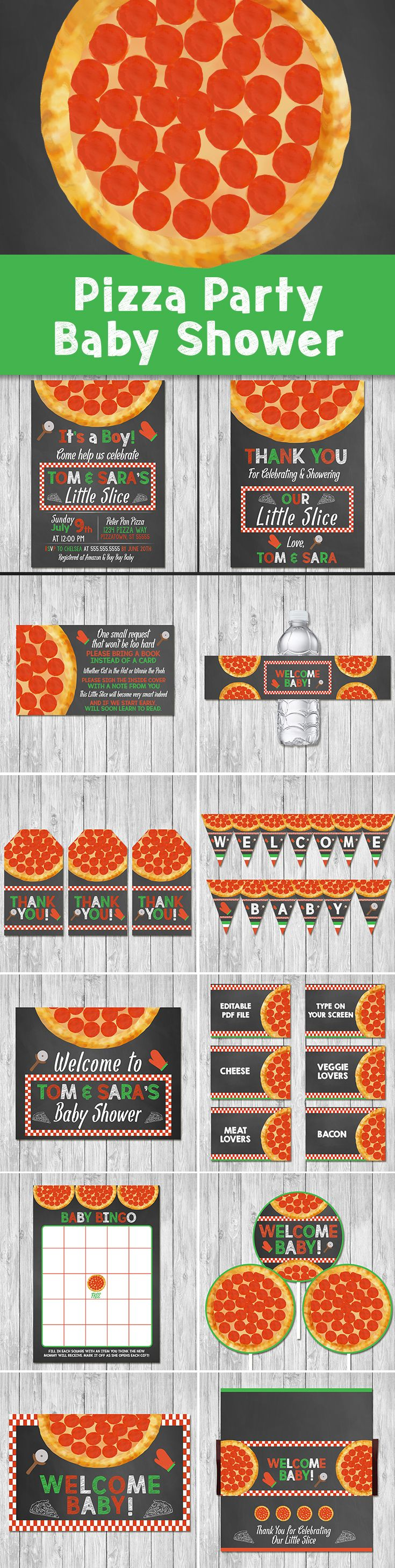 Pizza Baby Shower - Couples Baby Shower - Party Printables