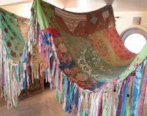 BOHO Tent luifel Tipi vintage textiel Gypsy hippie lappendeken bed luifel gordijn foto prop festival Boheemse Shabby chique bruiloft
