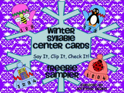 Winter Syllable Cards ~FREEBIE SAMPLER~ from Jennifer Drake on TeachersNotebook.com -  (5 pages)  - Ready for a 'flurry' of fun & learning with syllables this winter? Check out this freebie sampler- if you like what you see, the full pack of 66 cards is available in my TN store!