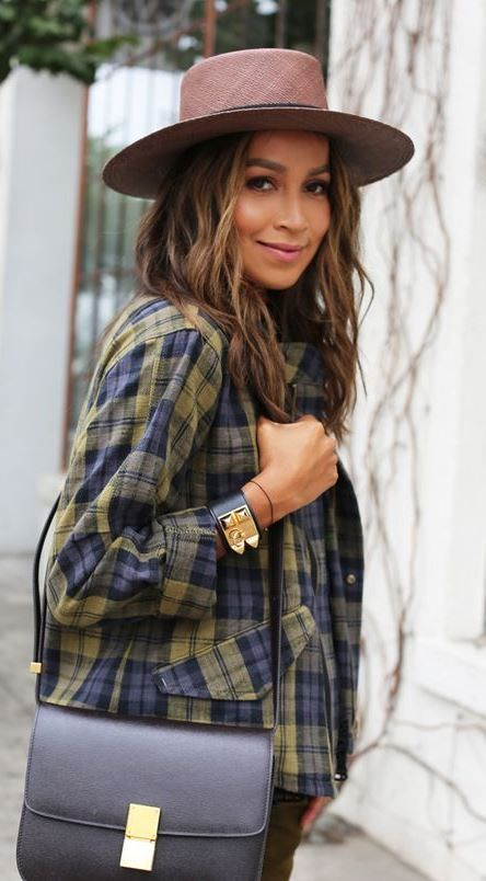 fall trends / hat + plaid shirt + bag + jeans