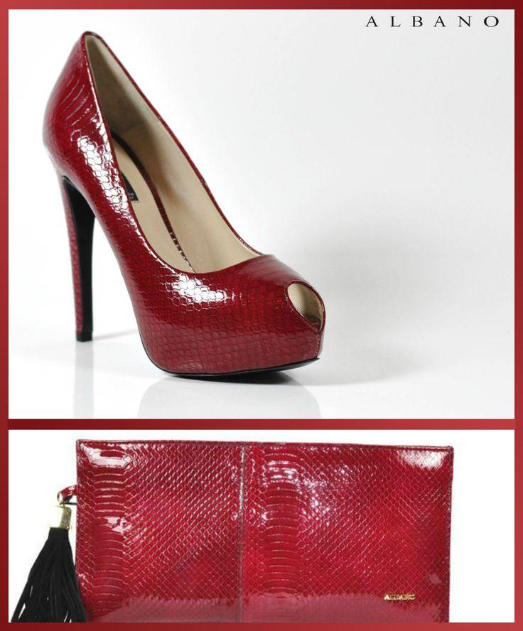 Décolleté e pochette Albano in cobra rosso