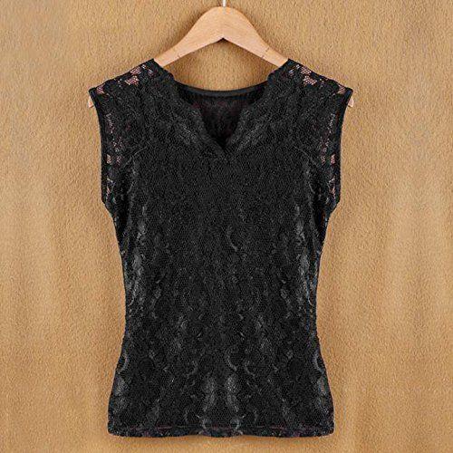 Minetom Damen Sexy Elegante Spitze Tanktop Shirts V-Ausschnitt Slim fit Weste Bluse ( Schwarz EU M ): Amazon.de: Bekleidung