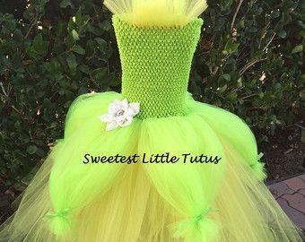 Vestido de princesa de la rana Tiana princesa Tutu vestido / Tiana traje / traje de la princesa de la rana Tiana cumpleaños Vestido