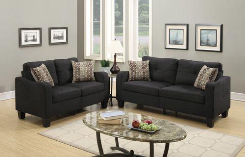 2 PC Poundex Black Linen Sofa & Loveseat Set F6922