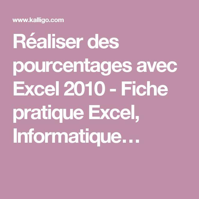 Réaliser des pourcentages avec Excel 2010 - Fiche pratique Excel, Informatique…