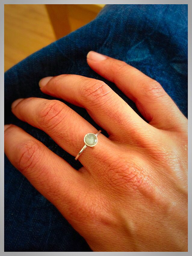 Simple Sterling Silver Ring with Your Loved One's Ashes Solidified in a 5mm Setting. Cremation Jewelry from Close By Me Jewelry.