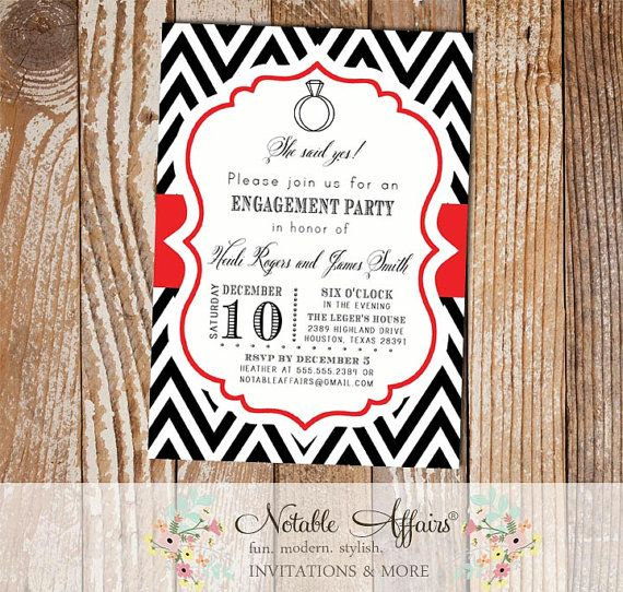 Black and Red Chevron Engagement Ring Bridal Shower Engagement Couples party shower invitation - Colors can be changed by NotableAffairs