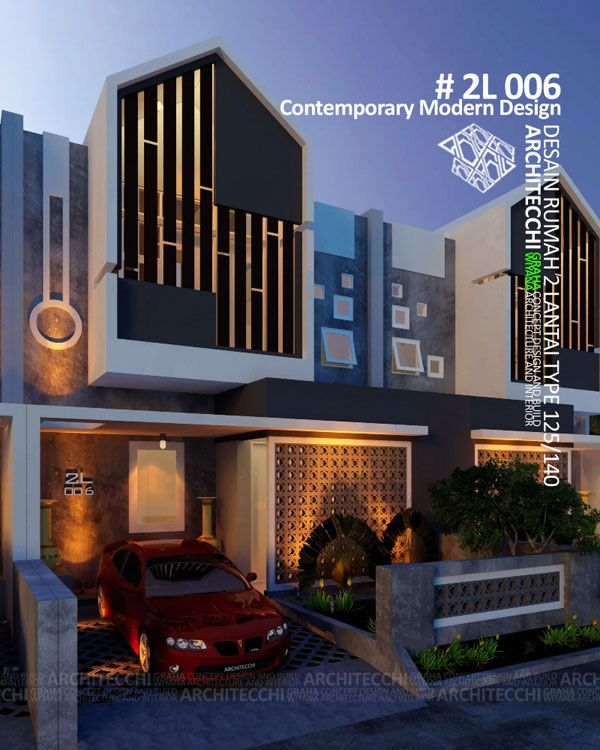 Desain Rumah 2 Lantai 2L006 Contemporary Modern   Type 125/140   Lebar 7 meter   4 Kamar Tidur   Desain Rumah Siap Bangun