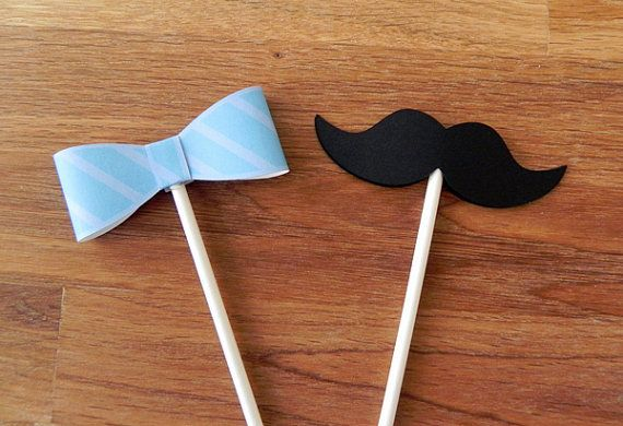 Cupcake Toppers: Little Man Bow Ties and Mustaches Baby Shower or Birthday Party - die cut mustaches bow ties on Etsy, $13.50