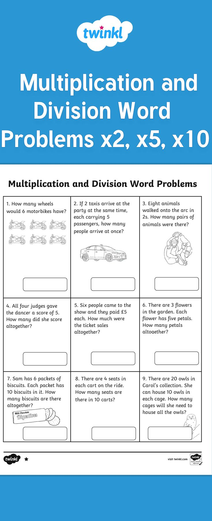 Year 2 Multiplication And Division Word Problems X2 X5 X10 Division Word Problems Multiplication And Division Word Problems Word Problems Division worksheet year twinkl