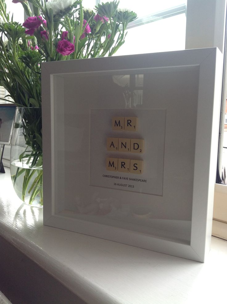 Mr and mrs scrabble art frame for a friends wedding @thelemonbutton