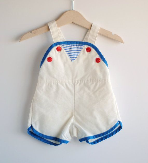 Vintage baby boy romper / sunsuit.
