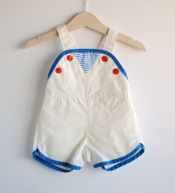 Vintage baby boy romper / sunsuit.