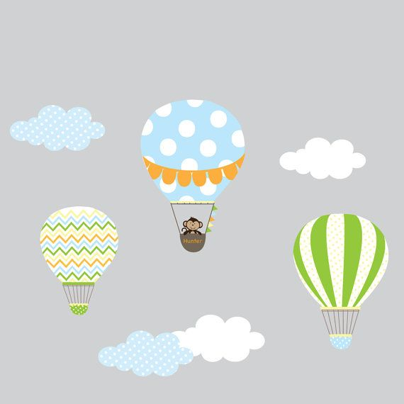 Nursery Wall Decal,Hot Air Balloon,Balloon Wall Decal,Chevron Pattern,Boy Girl Nursery