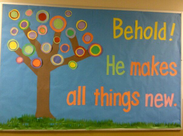 Inspired by Russian painter and art theorist Wassily Kandinsky, I came up with this Christian, spring bulletin board. (Rev. 21:5)