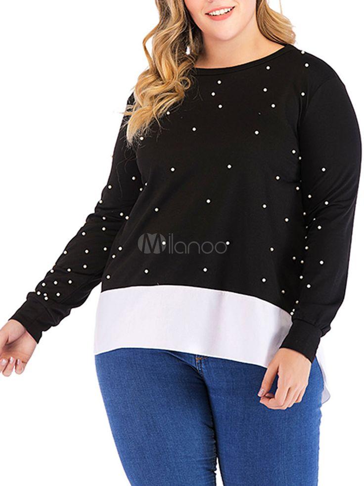 Plus Size Sweatshirt Women Long Sleeve Beaded Two Tone Pullover Top #Women, #Lon... 1