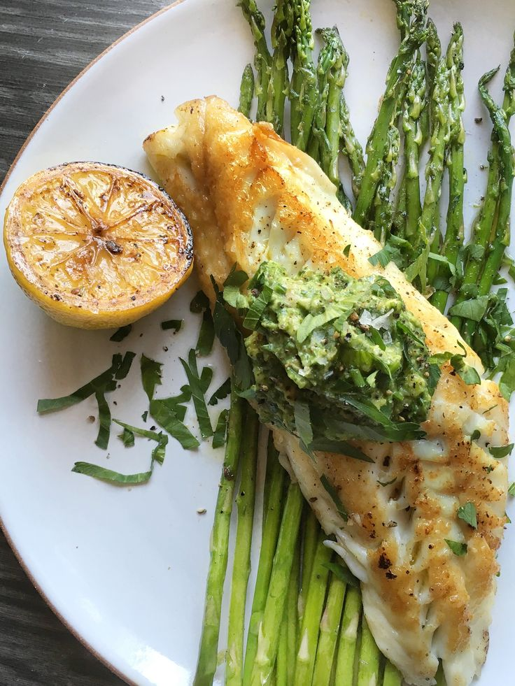 Chilean Sea Bass with Spinach-Avocado Pesto.  Wish sea bass was a bit less expensive...one of my favorites of fish!