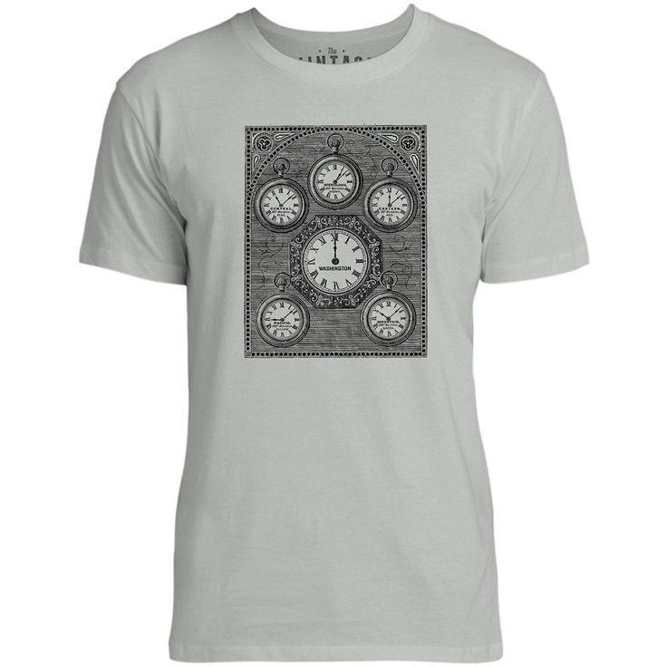 Mintage Antique International Clock Mens Fine Jersey T-Shirt (Silver)
