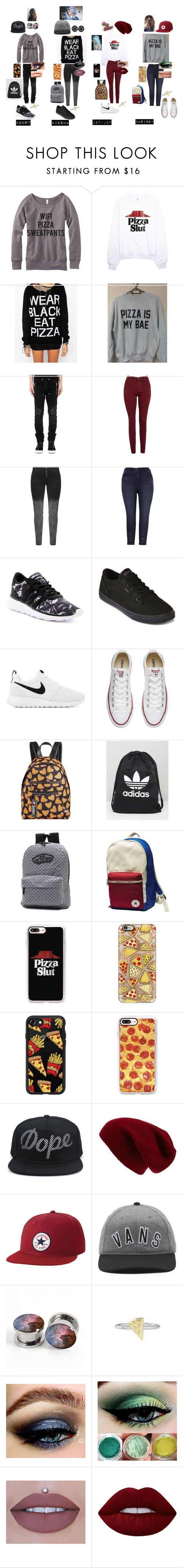 """Pizza Squad"" by punk-764 on Polyvore featuring Kill Star, Balmain, AG Adriano Goldschmied, Melissa McCarthy Seven7, adidas, Vans, NIKE, Converse, Circus by Sam Edelman and Casetify"
