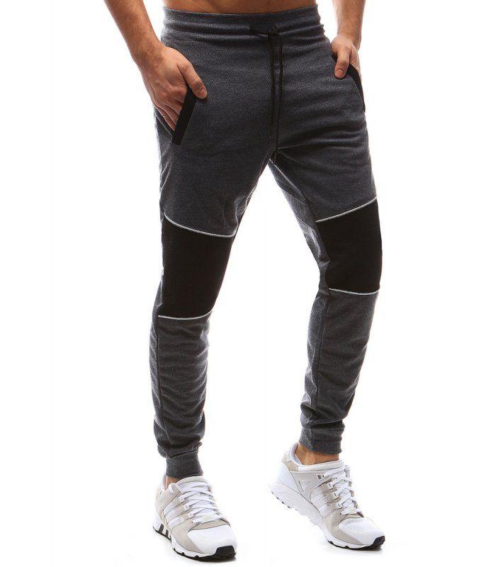 e5522de7b000 Pánske antracitové teplákové nohavice