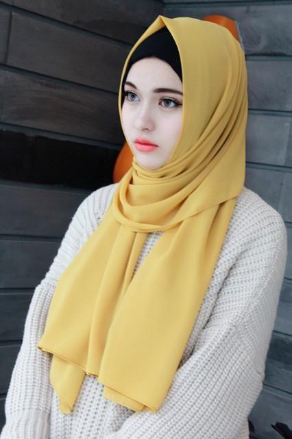 High Quality Plain Bubble Chiffon Hijab