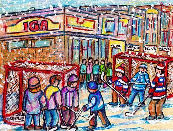 Montreal Art Snowy Winter Scene Painting Iga Rue Wellington Verdun Kids Hockey Day C Spandau Artist By Carole Spandau Winter Scene Paintings Winter Scenes Verdun