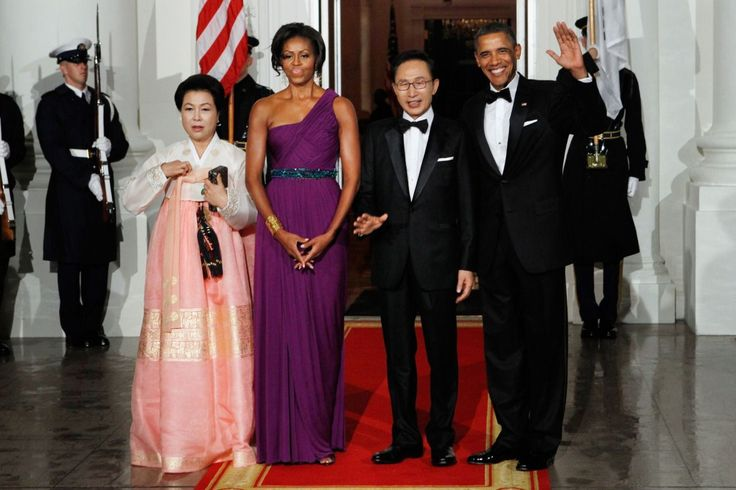 """Korean-American designer Doo-Ri Chung made Michelle Obama's """"ultra-violet"""" chiffon gown for the South Korea state dinner in October 2011. """"As a woman's designer, I have such respect for intelligent, modern women,"""" Chung told the New York Post of dressing the first lady. """"And who else epitomizes that better than Michelle Obama? I couldn't be more happy. It's truly such a great honor."""""""
