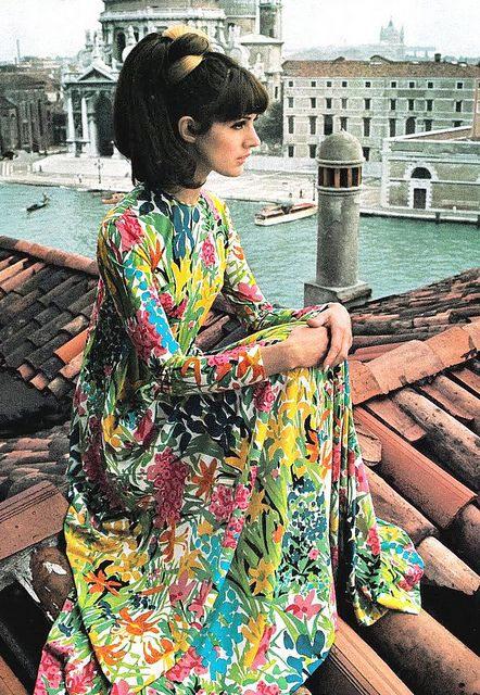 Multi-color floral print maxi dress, Italian Vogue, 1966. Photographed by David Bailey in Venice, Italy.