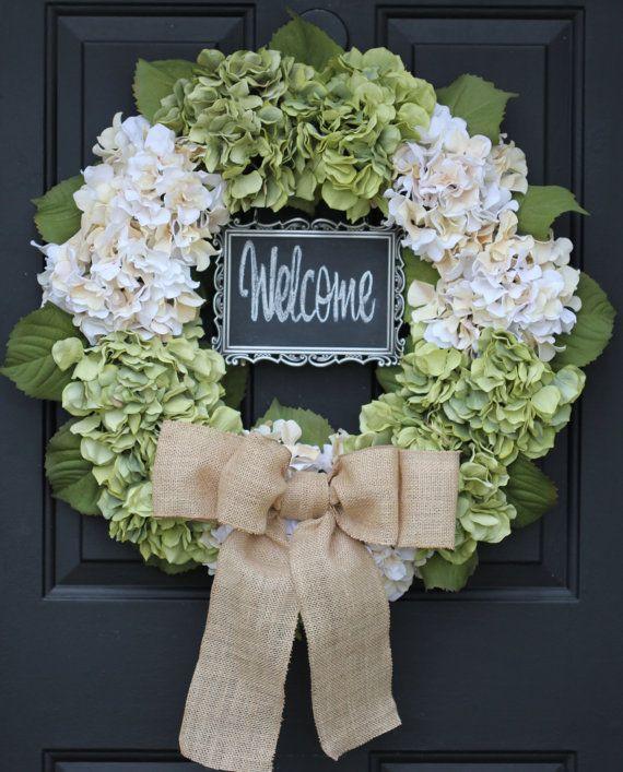 Hydrangea Wreath - Creamy White & Green Flower Wreath Welcome 5x7 CHALKBOARD…
