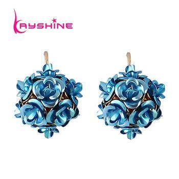 Brincos винтаж синий,  милый цветок  роскошные серьги  индийские украшения для женщин