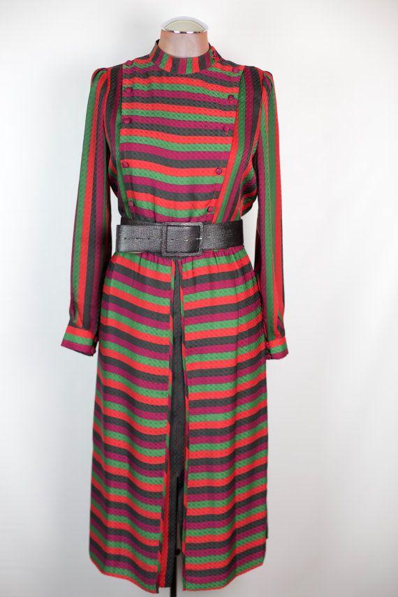 VINTAGE años 80 negro vestido rayas púrpura por RedChairVintage