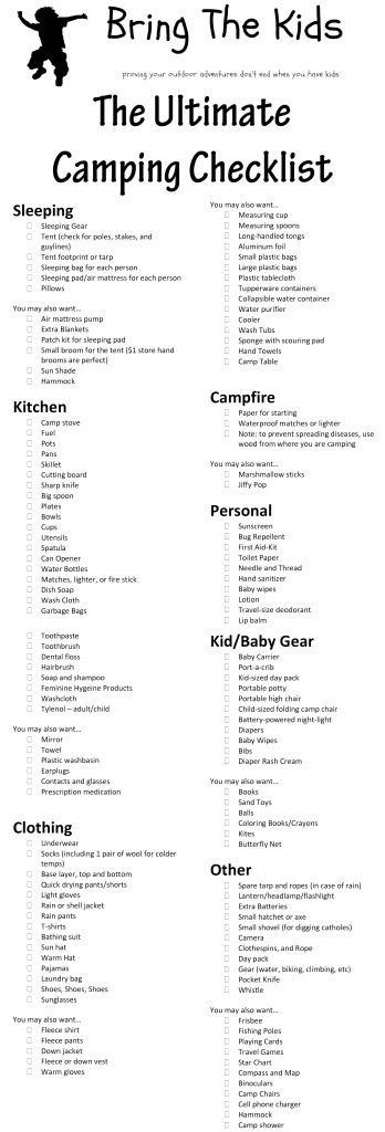 The Ultimate Family Camping Checklist - prob don't need everything, but it'll