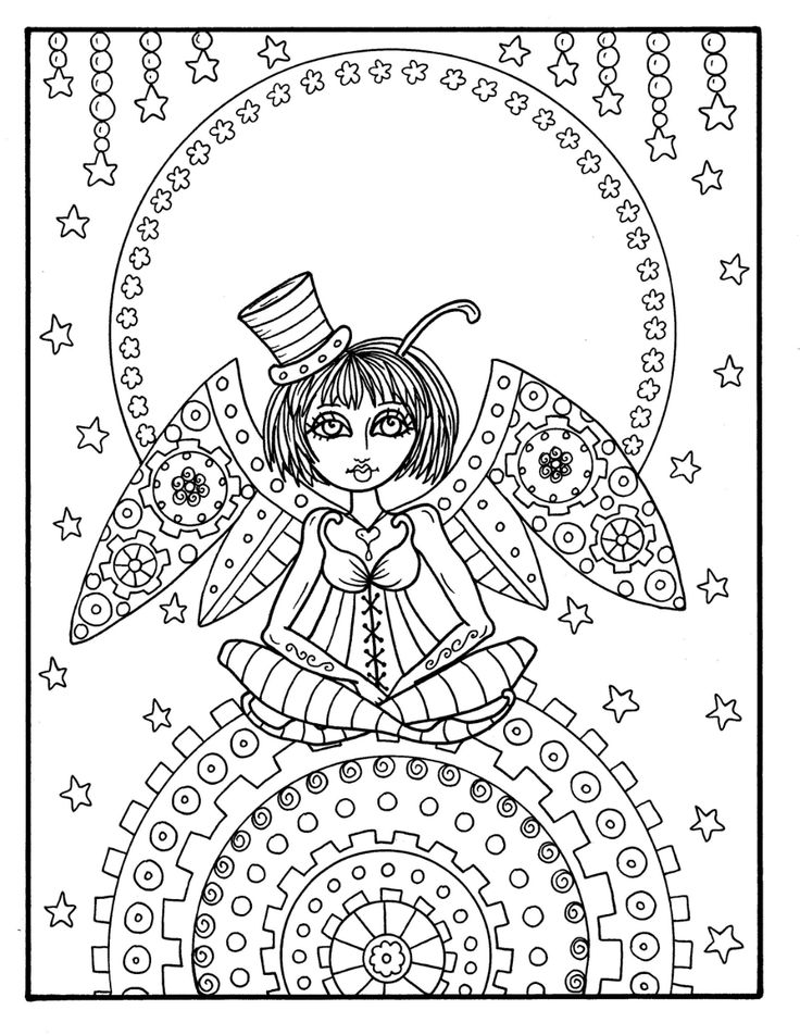 Steampunk Fairyland Digital Book over 35 pages coloring