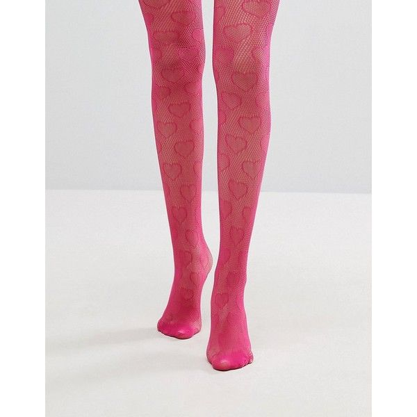 Gipsy Heart Net Tights ($9.50) ❤ liked on Polyvore featuring intimates, hosiery, tights, pink, high waisted tights, pink stockings, opaque tights, net stockings and pink tights