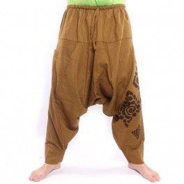 Harem pants Floral Design imprint – khaki