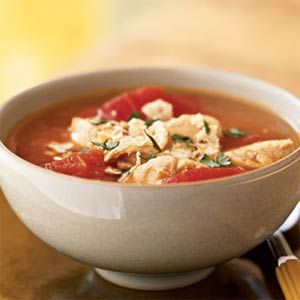 Chipotle Chicken Tortilla Soup - fast and easy.  I use fresh garlic and I bake my on tortillas.  Buy a pack of burrito size tortillas, cut into strips, brush each side with olive oil or spray with cooking spray, add desired spices, and bake until golden brown.