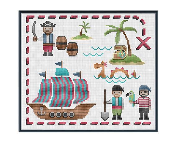 Cute Pirates Cross Stitch Pattern Instant by tinymodernist on Etsy, $6.00