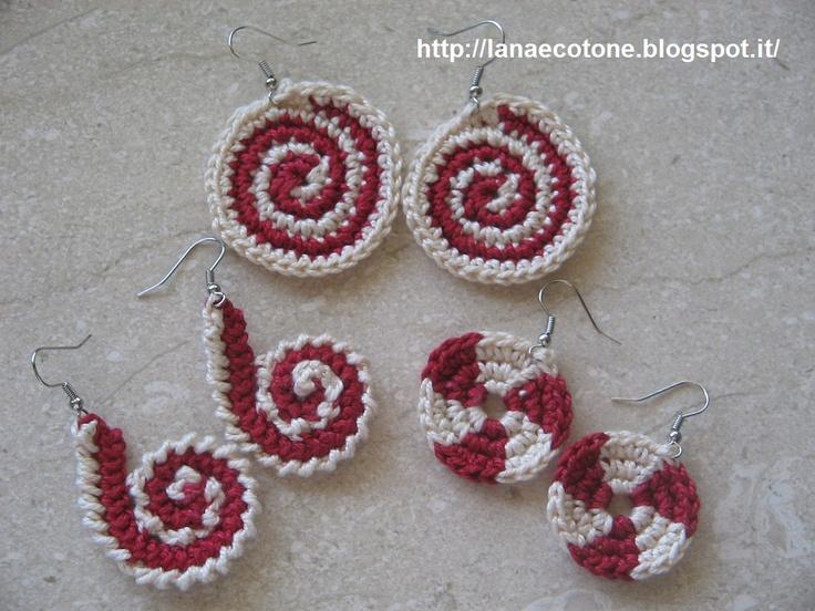 Lana e Cotone (maglia e uncinetto): Orecchini all'uncinetto