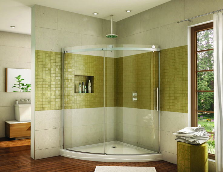 Create the illusion of a larger corner shower with a curved glass shower  door Best 25  Corner shower doors ideas on Pinterest   Corner showers  . Curved Corner Shower Enclosure. Home Design Ideas