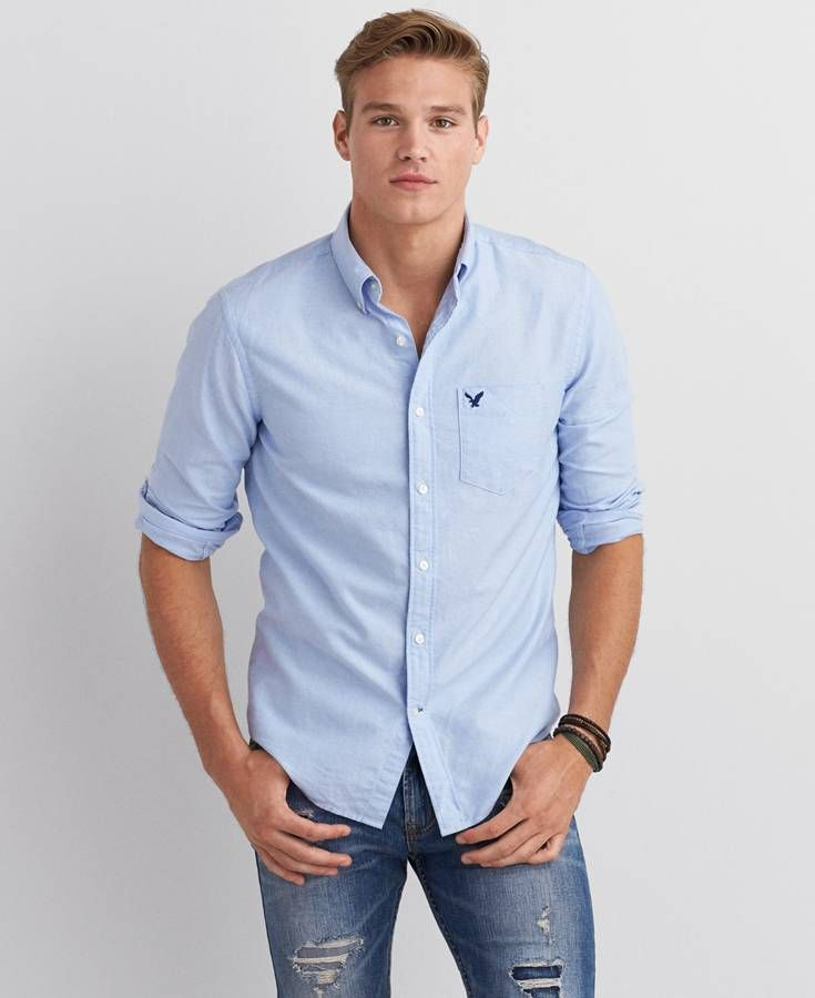 AEO Oxford Button Down Shirt, Men's, Light Blue | *Clothing ...