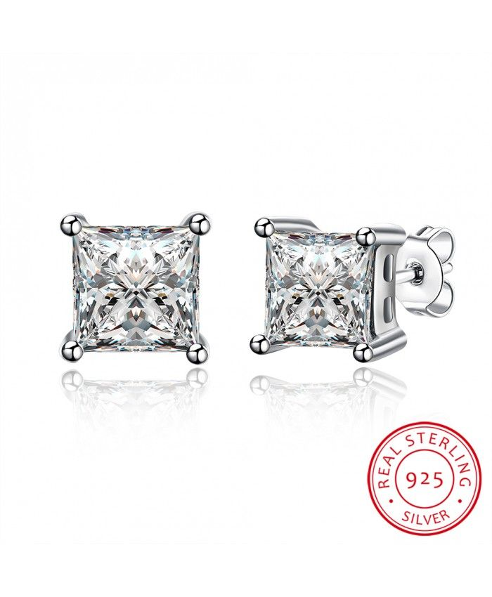 925 Sterling Silver Ear Studs White Cubic Zirconia Fashion Popular For Womens